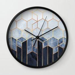 Soft Blue Hexagons Wall Clock