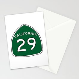 Hand Drawn Green California 29 Highway Sign Napa Valley Stationery Cards