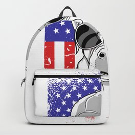 Cool Pitbull Dog USA America Flag Backpack