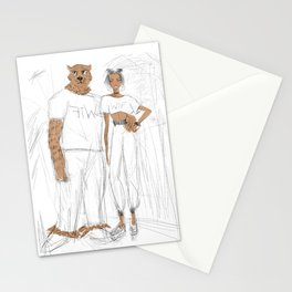 WTF LEOPARD CHEETAH MAN WITH BEAUTIFUL GIRL Stationery Cards