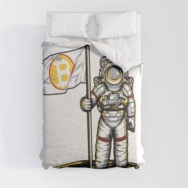 Bitcoin Astronaut To The Moon BTC Blockchain Gift Comforters