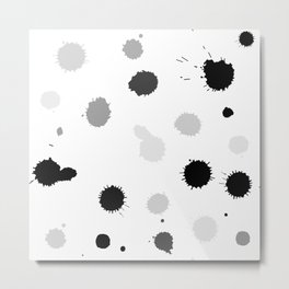 Black and gray blots on white background Metal Print