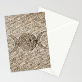 Triple moon - Triskelion - Vintage Gold Stationery Cards