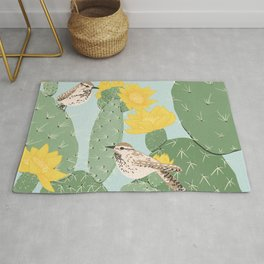 Prickly Pear with Wrens  Rug