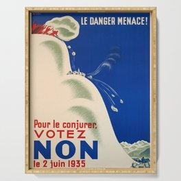 retro old le danger menace pour le conjurer votez non le poster Serving Tray
