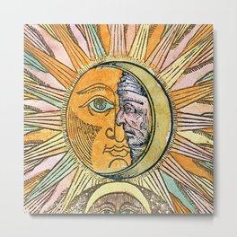 Sun and Moon Face Metal Print