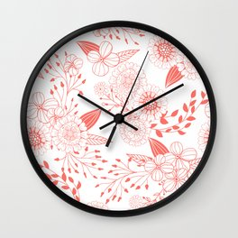 Doodle flowers in living coral  Wall Clock