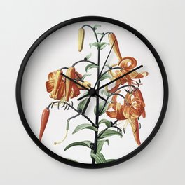 Vintage Tiger Lily Illustration Wall Clock