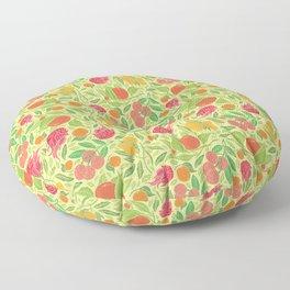 Dragonfruit amoung mango and mandarin on yellow background Floor Pillow