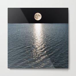 Ocean Moonlight | Moon Photography | Stars and Ocean | Night sky Metal Print