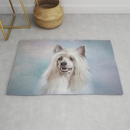 Drawing Chinese crested dog Rug
