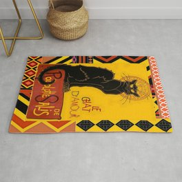 Le Chat Noir D'Amour With Ethnic Border Rug