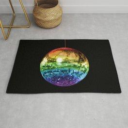 Rainbow Mirrored 1970s Disco Ball Rug