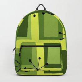 Mid Century Modern Art 'Wonky Doors' Chartreuse Backpack