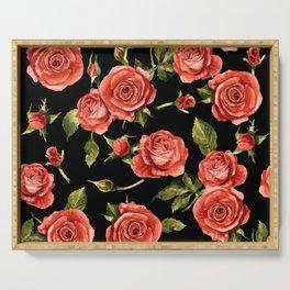 Vintage Red Roses On Black Serving Tray