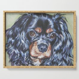Beautiful black and tan Cavalier King Charles Spaniel Dog Painting by L.A.Shepard Serving Tray