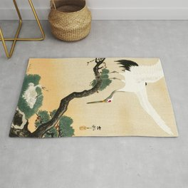 Crane and its chicks on a pine tree  - Vintage Japanese Woodblock Print Art Rug