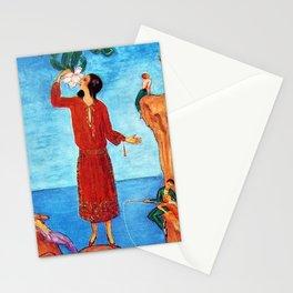 Magnolia flower, Mediterranean Seaside portrait painting by Nils Dardel Stationery Cards