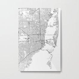 Miami White Map Metal Print