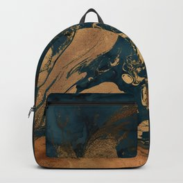 Emerald Indigo And Copper Glamour Marble Backpack