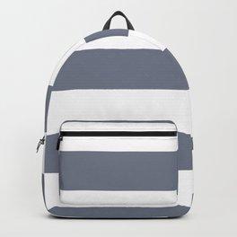 Hazy Blue - Seattle Haze Blue Gray - Twinkle Twinkle Hand Drawn Fat Horizontal Stripes on White Backpack