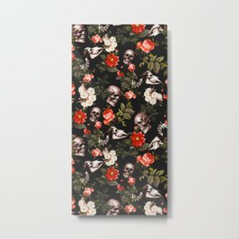 Floral and Skull Pattern Metal Print