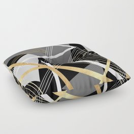Original Gray and Gold Abstract Geometric Floor Pillow