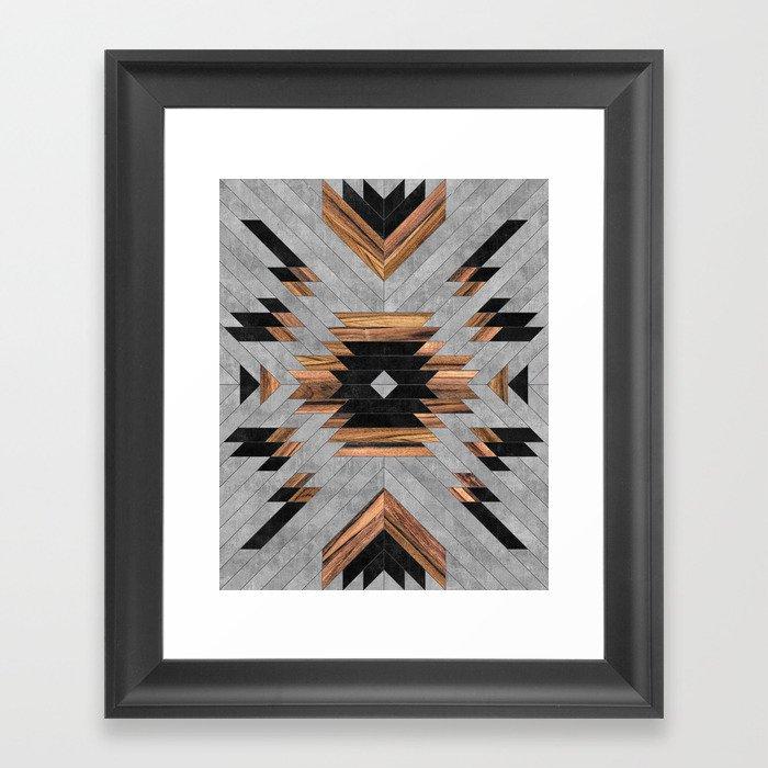 Urban Tribal Pattern No.6 - Aztec - Concrete and Wood Gerahmter Kunstdruck