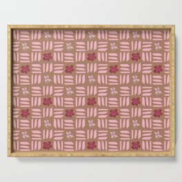Soft Pink Geometric Lines and Flowers on Brown Serving Tray