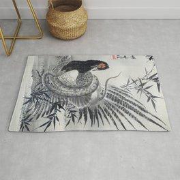 Kawanabe Kyosai - Pheasant Caught By A Snake - Digital Remastered Edition Rug