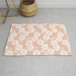 Daisies - White and Blush Pink Bloom Rug