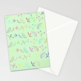 Crayon Flowers Drawing on Pastel Green Stationery Cards