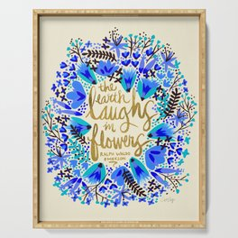 The Earth Laughs in Flowers – Gold & Blue Serving Tray