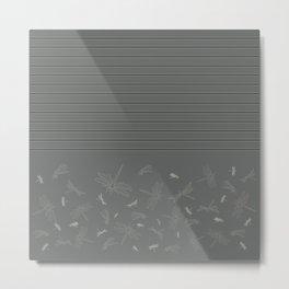 Dragonfly Pattern on Warm Grey Metal Print