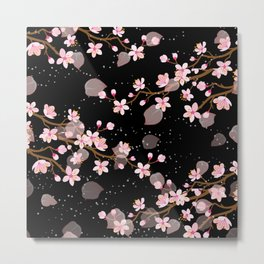 Cherry Blossoms Pink and White on a Dark night Metal Print