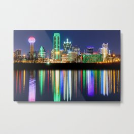 A very colorful Dallas Skyline with an impressive reflection Metal Print