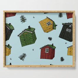 scandinavian houses (yellow, red, gray, green) with grass on the roof colorful seamless pattern on blue background with christmass trees Serving Tray