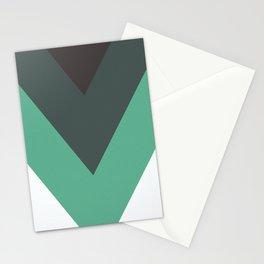 Sage Chevron Stripes Stationery Cards