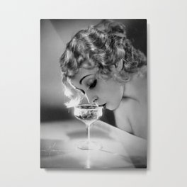 Jazz Age Blond Sipping Champagne black and white photograph / photography Metal Print