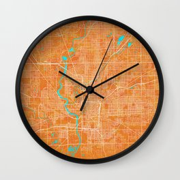 Indianapolis, IN, USA, Gold, Blue, City, Map Wall Clock