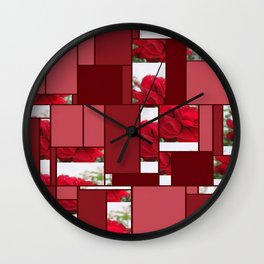 Red Rose Edges Art Rectangles 8 Wall Clock