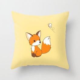 Cute Little Fox Watching Butterly Throw Pillow