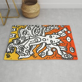 Street Art Graffiti Monsters with Friends in the sunset Rug