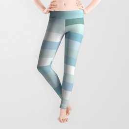 Color Block Stripe in Mint Blue Leggings