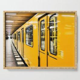 Berlin tube I U-Bahn I Vintage I Yellow colors I Fine art I Photography Serving Tray
