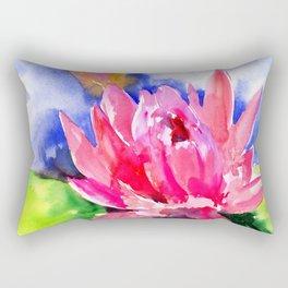 Lotus Flower, pink lotus Asian ink art, pink blue lily pod, waterlily flower Rectangular Pillow