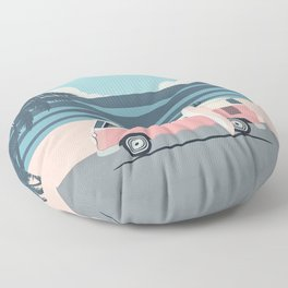 Surfer Graphic Beach Palm-Tree Camper-Van Art Floor Pillow