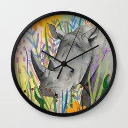 WHITE RHINO illustration Wall Clock