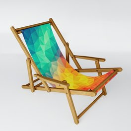 Abstract Polygon Multi Color Cubism Low Poly Triangle Design Sling Chair