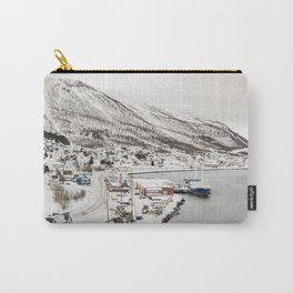 Harbor In Norway Snow Photo | Winter In Norway Boats And Mountains Art Print | Travel Photography Carry-All Pouch